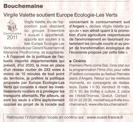 Soutien à Gérard Nussmann et Marianne Prodhomme, candidats d'Europe Ecologie - Les Verts (EELV)