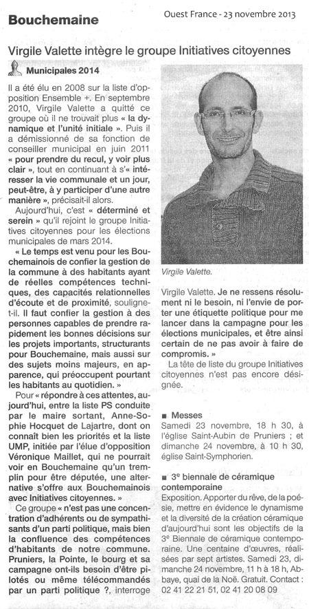 Virgile VALETTE rejoint le groupe Initiatives Citoyennes